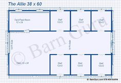 6 Stall Horse Barn Plans (I would maybe split the open area to make a 12' x 12' wash stall with a doorway to outside and would put the wheelbarrow, pitchforks, etc. in the other side)