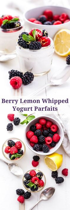 Berry Lemon Whipped Yogurt Parfaits are the perfect lighter dessert to make this spring! Greek yogurt, whipping cream and lemon are whipped together and topped with lightly sweetened berries. Creamy and sweet without being over the top! #berries #lemon #greekyogurt #parfait #dessert