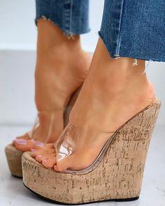 Platform Wedge Sandals, Wedge Shoes, Peep Toe Platform, Peep Toe Wedges, Heeled Sandals, Trend Fashion, Style Fashion, Fashion Sandals, Women's Feet