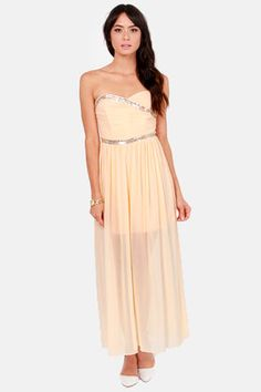 TFNC Damia Beaded Peach Maxi Dress at Lulus.com