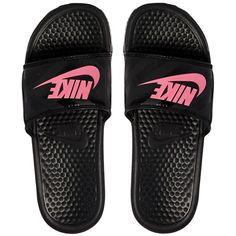 Pink Nike Benassi Black & Sliders (92 BRL) ❤ liked on Polyvore featuring shoes, sandals, slide sandals, black strappy sandals, strappy sandals, wide strap sandals and black strap shoes