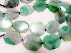 Emerald Green Faceted Agate Large Slab Stone by CanterBeads