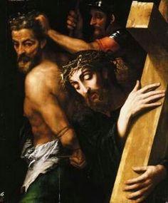 Cristo en su angustia, con la cruz a cuestas