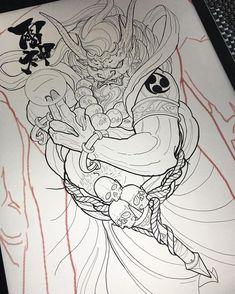 Raijin wishes everyone a safe and happy Canada day! God Tattoos, Body Art Tattoos, Sleeve Tattoos, Tattoos For Guys, Tatoos, Japanese Tattoo Designs, Japanese Tattoo Art, Japanese Art, Tattoo Sketches