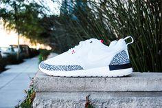 """Roshe Run """"White Cement 3"""" Air Jordan Custom"""