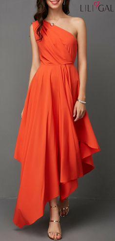 Asymmetric Hem One Shoulder Orange Red Dress #liligal #dresses #womenswear #womensfashion