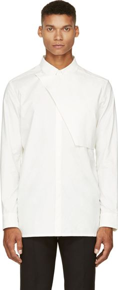 Helmut Lang: White Poplin Placket Shirt | SSENSE