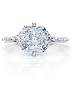 www.caprijewelersaz.com ♥ 2.60 carat Hexagonal Diamond Ring