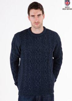 Thorpe - Denim Jumper - Pure British Wool - Mens Aran Jumper Sweater - Made in Great Britain   Sweateronline - Fine British Knitwear