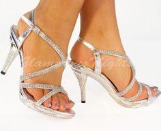 medium heel shoes | SILVER DIAMANTE ENCRUSTED MEDIUM HEEL PLATFORM SANDAL SHOES WEDDING ...