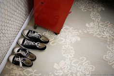 DIY painted sub-flooring.  Great idea that I never would've thought of.