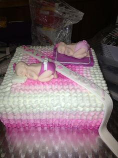 Twins girl baby shower cake.