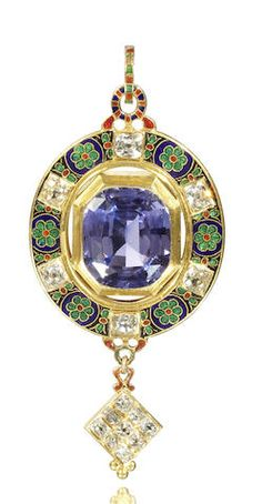 A gold, enamel, colour-change sapphire and diamond Holbeinesque pendant,