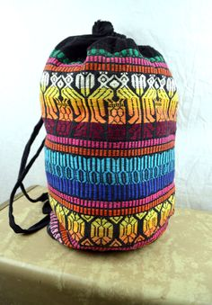 Vintage Rainbow Guatemalan Fabric Drawstring Pouch by RogueRetro