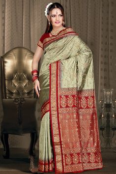 Beautiful bridal saree in traditional colors and design. Love it!