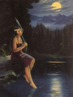 Indian Maiden in the Moonlight  circa 1917 #CalendarArt #Vintage