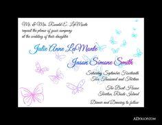 Butterfly Wedding Invitation  Custom by ADollopOfInspiration