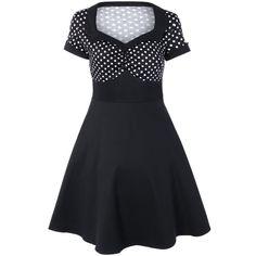 Polka Dot Vintage Flare Dress, BLACK, XL in Vintage Dresses | DressLily.com