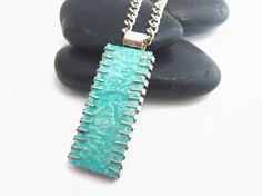 Upcycled Computer Chip Necklace in Aqua by artagain on Etsy
