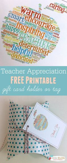 Teacher Appreciation Free Printable - Gift Card Holder and tag | TodaysCreativeBlog.net #print #teacher