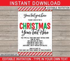 Christmas Party Invitations  Printable Christmas Invites