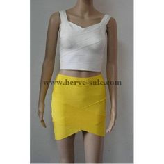 Herve Leger Sexy Yellow Skirt S207Y