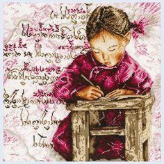 The Little Schoolgirl - counted cross-stitch kit  Royal Paris