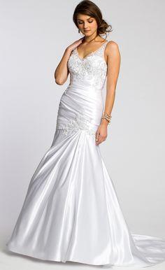 Satin Pleated Illusion V Neck Wedding Dress #camillelavie