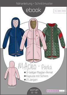 Ebook MAcleo Parka with raglan sleeves - pattern and instructions as PDF file . Crochet Blanket Patterns, Crochet Stitches, Softshell Mantel, Black And White Baby, Fabric Stamping, How To Start Knitting, Animal Nursery, Jacket Pattern, Beautiful Crochet
