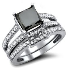 2.42ct Black Princess Cut Diamond Engagement Ring Bridal Set 14k White Gold Front Jewelers, http://www.amazon.com/dp/B0092GTBVM/ref=cm_sw_r_pi_dp_Uk8erb0Y9G2KM