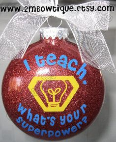 Personalized Teacher Ornament. I Teach Whats Your by 2MBowtique