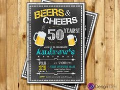 Adult Birthday Invitation for Men. Beers & Cheer!,  21st, 30th, 40th, 50th, any age. Beer, Men Birthday #A1023