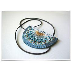 Tribal Geometric Statement Necklace ø Hand Embroidered ø LoftFullOfGoodies ø Back To School
