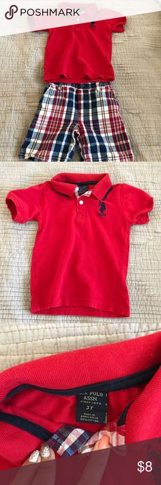 3t Polo outfit- shirt and shorts red EUC. No stains. Polo shirt and plaid shorts. Polo by Ralph Lauren. Perfect for 4th of July!  Bundle and save! Polo by Ralph Lauren Matching Sets