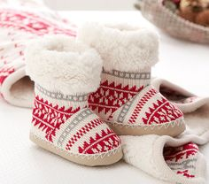 Fairisle Slippers. Not sure I'd put them on a boy. I want the blanket super bad!