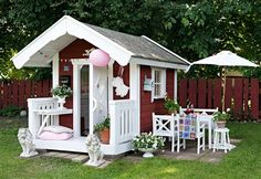 Lekstugan Garden Playhouse, Playhouse Outdoor, Cubby Houses, Play Houses, Outdoor Games, Outdoor Play, Baby Barn, Diy Playground, Red Cottage
