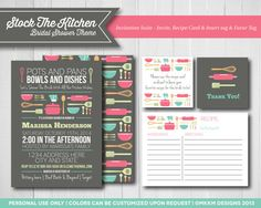 Stock The Kitchen Bridal Shower  Invitation Suite  by MKKMDesigns - Invite , Recipe Cards, Favor Tags - Bridal Shower Ideas