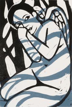 "Anita Klein: ""Shadows in the Forest"". Lino cut print"