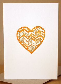 Letterpress Heart Gift Card - love card, anniversary card, wedding gift card, give thanks card, tribal pattern, orange. $5.00, via Etsy.