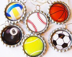 Wine Charms, Sports wine charms, Bottlecap, Sports, Volleyball, Baseball, Basketball, Pool, Tennis, Soccor, barware