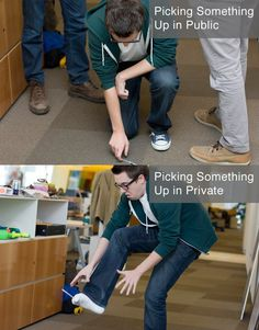 picking something up - public vs. private
