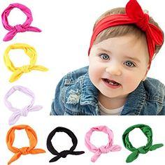 JUST MODEL Baby Girls Turban Knot Rabbit Hairband Headwear Toddler Bow Headbands 8 Colors