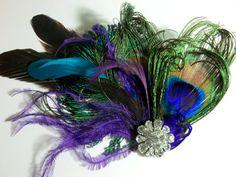 Wedding Peacock bridal fascinator wedding hair by kathyjohnson3