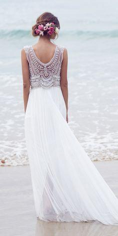 Designer Highlight: Anna Campbell Wedding Dresses ❤ pearl silver hand beading sparkle lace open draped back anna campbell wedding dresses madison ❤ See more: http://www.weddingforward.com/anna-campbell-wedding-dresses/ #weddingforward #wedding #bride #weddingdresses #bridalgown
