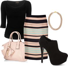 """Stripes"" by erino9519 on Polyvore. Different shoes would make this business casual appropriate."