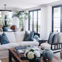 """""""Steel framed doors are so popular right now but so expensive,"""" says interior designer who used new bi-fold timber doors that… Coastal Living Rooms, Home Living Room, Living Room Designs, Living Room Furniture, Furniture Redo, Antique Furniture, Blue And White Living Room, Blue Living Room Decor, White Rooms"""