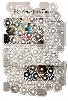 Donna Ruff, 12.14.12, hand-cut newspaper, 16.5 x 11.5 in, FitzRoy Knox