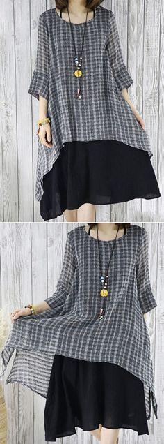 57cb2443e5 Vintage Plaid Print Layered Irregular 3 4 Sleeve Dresses For Women