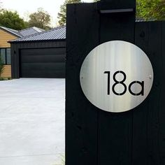 Brushed stainless steel round house number sign by LisaSarah Steel Designs Circle House, Steel House, Corten Steel, Round House, House Numbers, Brushed Stainless Steel, Custom Homes, Custom Design, Modern