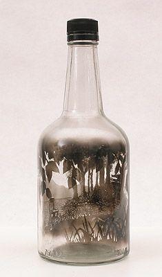 Wayward Commerce, 2010 Smoke inside empty glass bottle by Jim Dingilian.